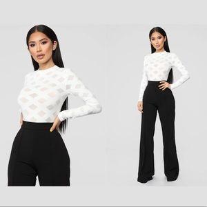 NWT Fashion Nova White bodysuit Size M